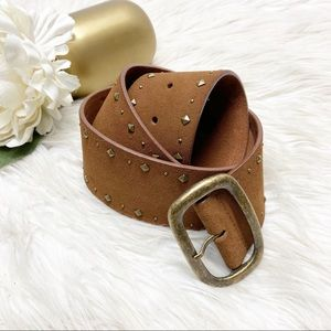 Fossil Studded Brown Genuine Leather Belt